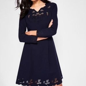 Nwot ted baker emey cutout embroidery blue dress